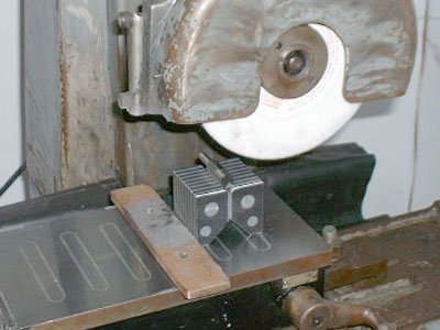 "No. 4 ""Universal"" Magnetic Chuck V-Blocks in use on surface grinder"